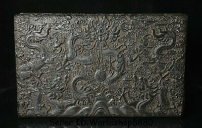 """14"""" Old China Ebony Black Wood Carved Dynasty Dragon Bead Jewelry box container"""