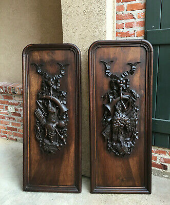 PAIR Set 2 Antique Carved Wood BLACK FOREST HUNT WALL PLAQUE Boar Pheasant Fowl