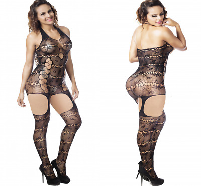 Women Plus Size Sexy Lingerie Jacquard Perspective Conjoined Net Halter Neck