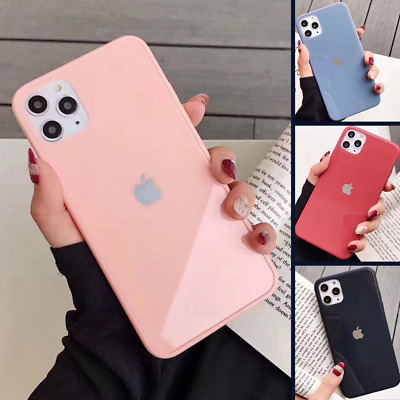 Genuine Real Glass Case For iPhone 11 Pro Max XS XR 8 7 6 Liquid Cover Silicone