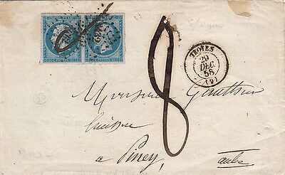 Lettre n°14Paire Troyes Aube + Taxe 8 1858 Cover