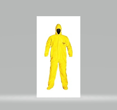 Box of 12 DuPont Tychem QC Coverall Attached Hood and Boots 3XL XXXL QC124BYL