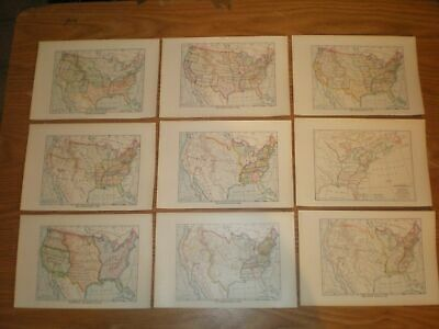Lot of 12 1910 United States Maps Showing US From 1783 to 1910 original