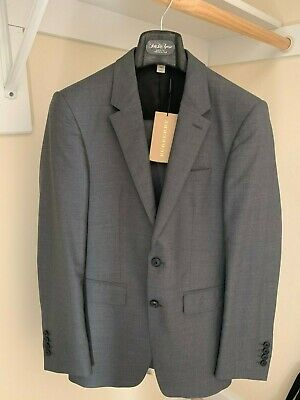 Brand New Dark Grey Burberry Suit Jacket and Pants 44R Wool Silk Made In Italy