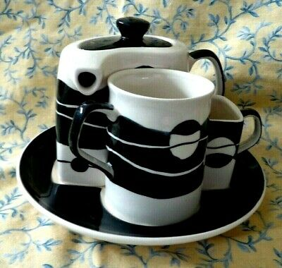 HuesNBrews Coffee Tea Set Pot Cup and Creamer With Tray Geometric Design