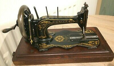 1890 Antique Singer 12k Fiddle base Hand Crank Sewing Machine