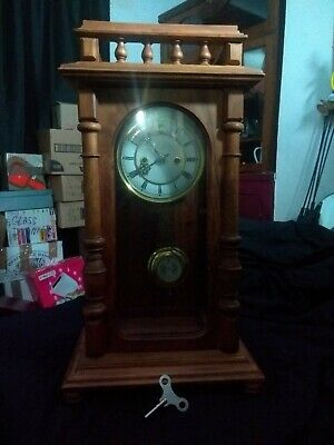 Beautiful Antique Vienna  Table Shelf Wall Clock with Pendulum