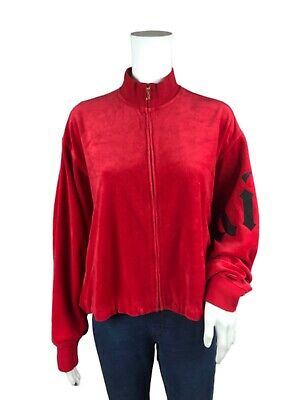 Juicy Couture Red Graphic Velour Tracksuit Zip-Up Jacket Size M OVERSIZED