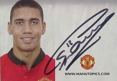 Chris Smalling Hand Signed 6 x 4  Club Card Autograph Manchester United