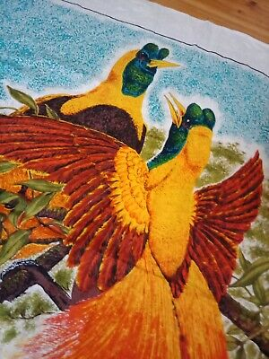 Vintage Retro Linen Tablecloth Birds Of Paradise Papua New Guinea Collectable