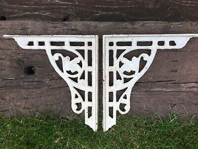 Original Victorian Pair of Heavy White Cast Iron Shelf/Wall Brackets