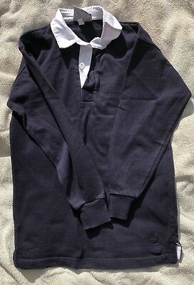 Unisex Child NAVY BLUE WHITE COLLAR POLO RUGBY STYLE COTTON TOP SHIRT 11-13 Yrs