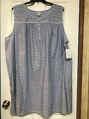 100% Cotton Gown Extra Soft Womens 4x Swiss Dot New With Tags Croft & Barrow