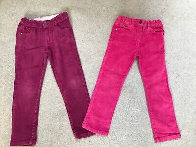 2 X Girls M&S / F&F Dark Pink Cords Trouser Bundle Age 4-5 Yrs Adjustable Waist