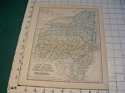 Vintage Original 1866 Mitchell Map: NY, NJ, PA, DELAWARE map # 10 aprox 10 X 12""