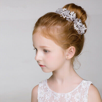 Girls Pearl Flower Headband Princess Headdress Hair Ornaments Birthday Party New