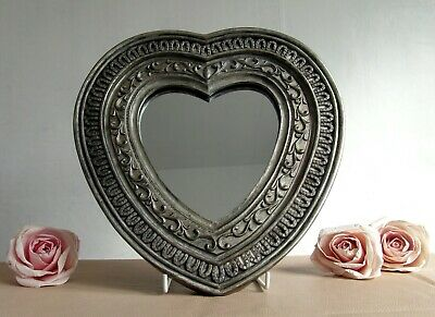 Antiqued Silver/Pewter Effect Embossed Resin - Heart Shaped Wall Mirror