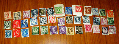 39 Pre-Decimal Stamps England Wales Scotland N Ireland Some Unfranked All VGC