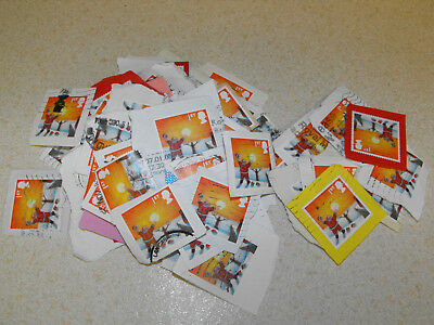 50 x 1st Class Xmas GB Stamps Santa Used & Franked Father Christmas on Paper