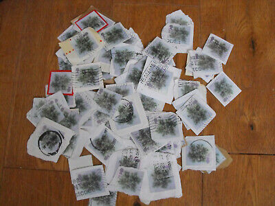 100  x Second Class  Christmas Flower Stamps Non Security Used Franked On Paper