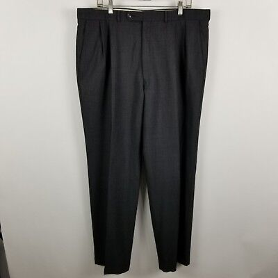 Jack Victor Prossimo Mens Pleated Dark Charcoal Gray Dress Pants Size 38x32