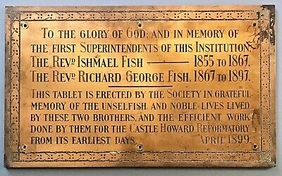 Large Solid Bronze Dedication Plaque Castle Howard Reformatory for Boys 1899