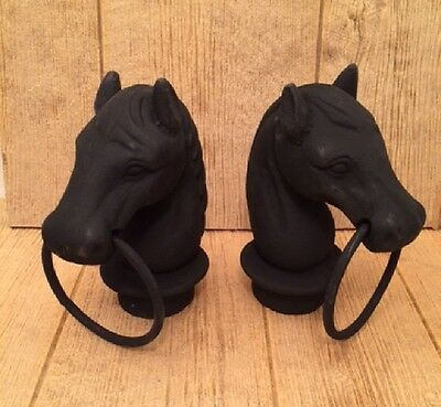 Black Cast Iron Horse Head With Ring Hitching Post Topper (Set of 2) 0170-11617