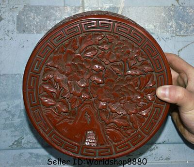 """6.8"""" Old China Qing Red lacquerware Dynasty Palace Flower jewel case Jewelry box"""