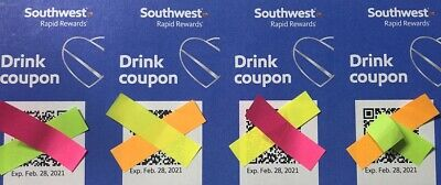 (4) Southwest Airlines Drink Coupons - Expire February 28, 2021