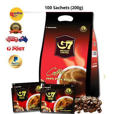 G7 100% Pure Coffee Black Instant Vietnamese 100 Sachets Soluble Trung Nguyen