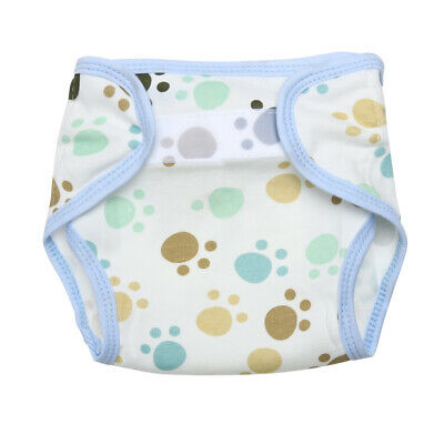 Baby Infants Breathable Soft Cotton Diaper Pants Reusable Nappy (Footprint) TN2F