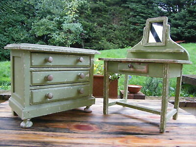 Apprentice Salesmans Samples Miniature Chest Of Drawers & Dressing Table