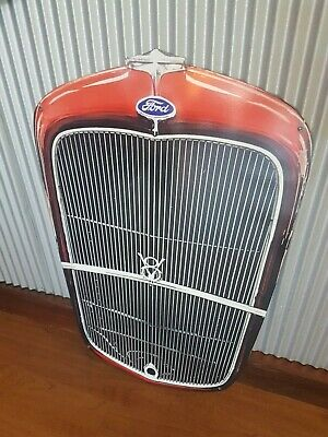 32 Ford Grill grille Metal tin cutout sign v8 Man cave bar Garage 1932