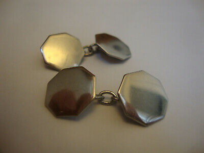 Antique old vintage art deco Octagon shape chrome plated cufflinks 1930's - 1950