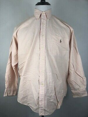 Polo by Ralph Lauren Mens Button Front Long Sleeve Big Shirt Striped Casual M (J