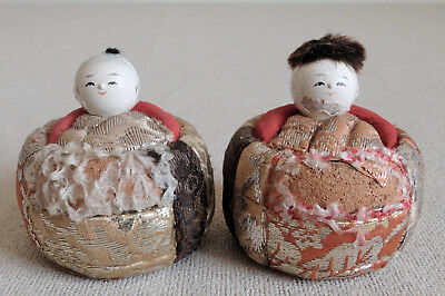 1.5 inch Japanese Antique Clay Pair Ejiko Dolls