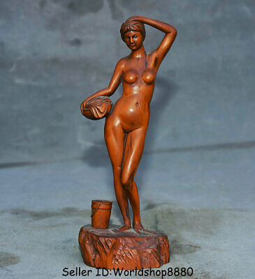 "7.8"" Old China Dynasty Boxwood Wood Hand Carved Belle Beauty Girl bathe Statue"