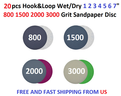 "20pcs Hook&Loop Wet/Dry 1 2 3 4 5 6 7"" 800 1500 2000 3000 Grit Sandpaper Disc"