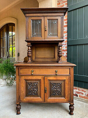 Antique English Carved Oak Kitchen Cabinet Leaded Glass Bookcase Sideboard