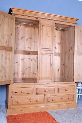 Delivery Options - Large Quality Triple Pine Farmhouse Wardrobe 5 Drawers Waxed