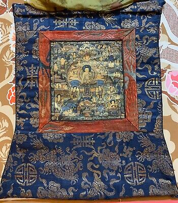 "Antique Chinese 19th Century Tibet SinoTibetan Thangka Buddha Painting 13"" X 17"""