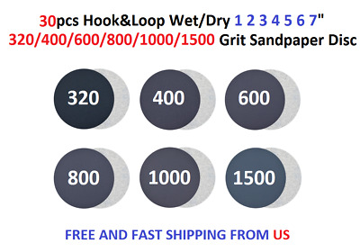 "30pcs Hook&Loop Wet/Dry 1 2 3 4 5 6 7"" 320-1500 Grit Sandpaper Disc"