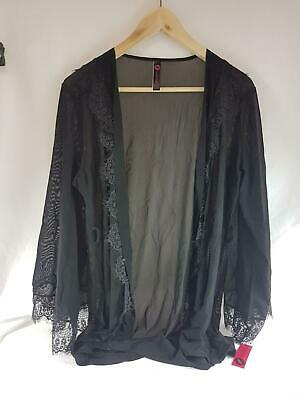 Rhonda Shear Up All Night Lace Trim Robe In Black/Navy, Style #4810
