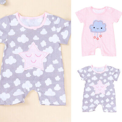 Newborn Baby Romper Infant Short Sleeve Jumpsuit Playsuit Cotton