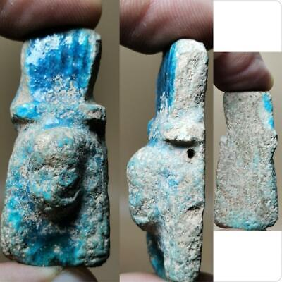 Ancient Rare Unique Faience King Rare lovely amulet   # 153