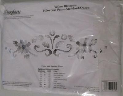 Herrschners Yellow Blossom Pillowcase Pair Stamped Embroidery Cross Stitch