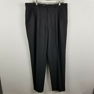 Jack Victor Prossimo Mens Super 100's Wool Charcoal Gray Dress Pants Size 38x33
