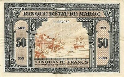 Morocco  50  Francs  1.3.1944  Series  K  WWII Issue  Circulated Banknote XB10
