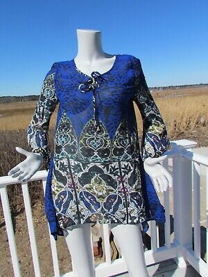 NEW L THE PYRAMID COLLECTION tunic embroidered moss sage green blouse top roses