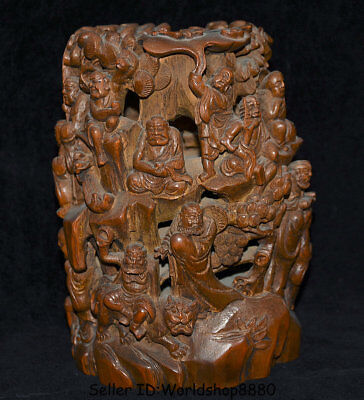 """10"""" Old Chinese Bamboo Root Dynasty the eighteen arhat Luohan Buddha Brush Pot"""